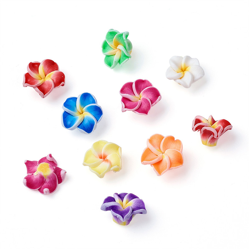 200x Handmade Polymer Clay 3D Flower Plumeria Beads Mixed Color 20x10mm Hole 2mm