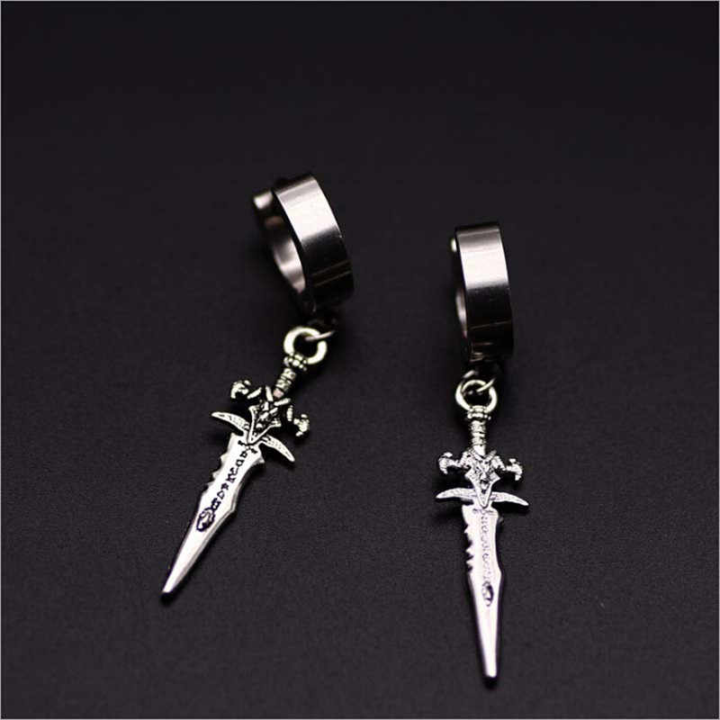 Asli Unik Pria Single Spike Stainless Steel Anting-Anting, Perhiasan, Aksesori, Hipster, Grunge, punk, Belati Anting-Anting