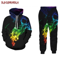 RAISEVERN Skull Womens Hoodies Pant Clothing 2PCS Set Warm New Women Ladies Harajuku Tracksuit Set 2pcs Tops Pants Suit Female
