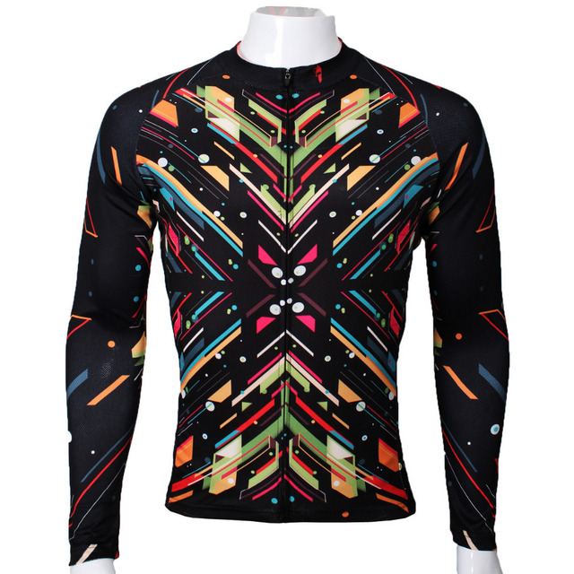 Colorful Mosaic Symmetry Mens Full Zipper Long sleeve Cycling Jerseys Breathable Ciclismo Ropa Polyester Cycling Clothing