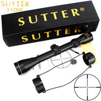 SUTTER 3 12X40 Mil Dot Reticle Hunting Rifle Scope Tactical Crossbow Air Gun Optical Sight Gold Edition RifleScope Trail Scope