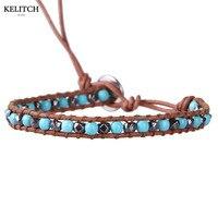 Kelitch Fashion Jewelry 1 Wrap Leather Link Chain Handmade Weave Bohemian Turquoise Friendship Bracelets For Women