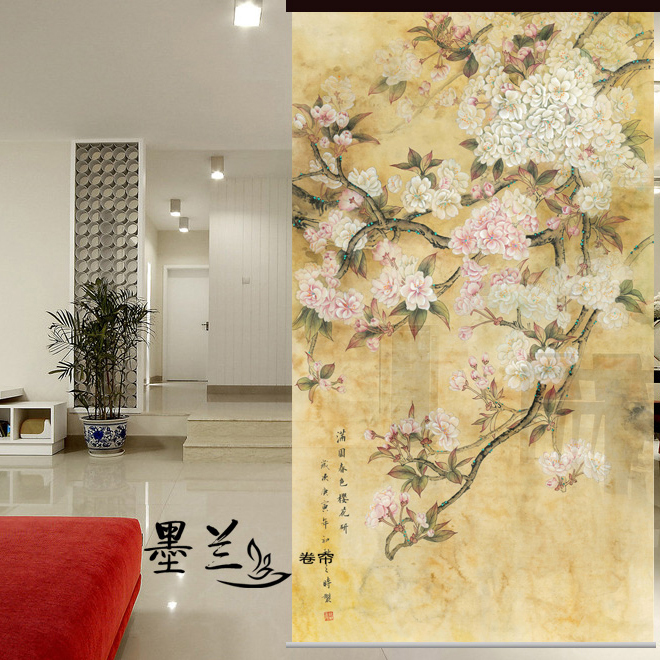 Screen Biombo Hanging Wall Panels Entrance Curtain Soft Partition Stylish Living Room Cherry Blossoms 100CMX200CM
