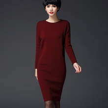 New Arrive Female Solid Casual Fashion O-Neck Long Sleeve Pullovers Women's Thin Knitting Dress