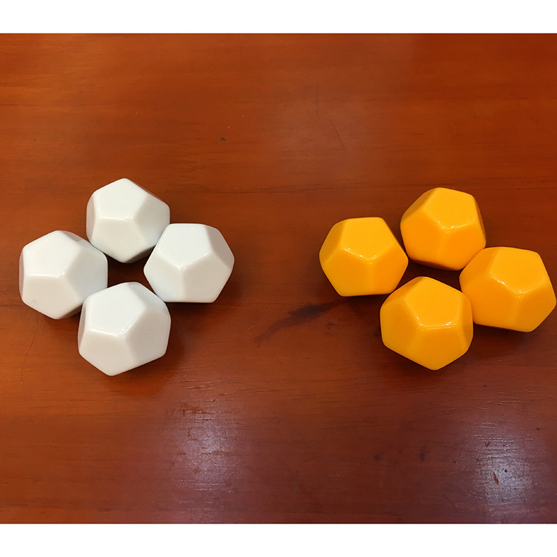 20 PCS/Set ,White/Yellow NO Digital Dice, 12 Side Puzzle Game Send Children Gift ,DIY Dice Game   With Free Shipping