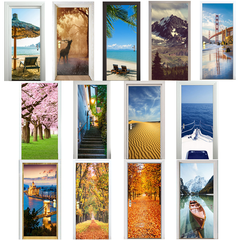 3d Door Sticker Arches Flower Seligman Coffee Gift Shop Animal Cage Restaurant Space Station Cafe Home Decoration Paste Lakeside Home & Garden