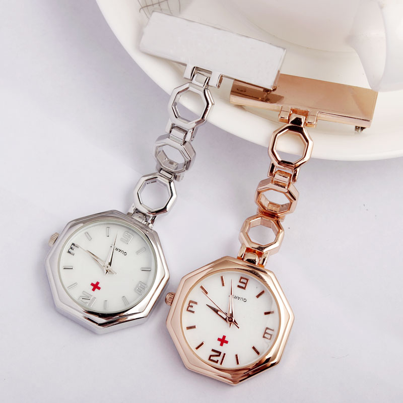 Luxury Crystal Clip-on Fob Ladies Nurse Pin Watch Women Quartz Brooch Octagon Dial Hanging Full Steel Luminous Men Women Relogio