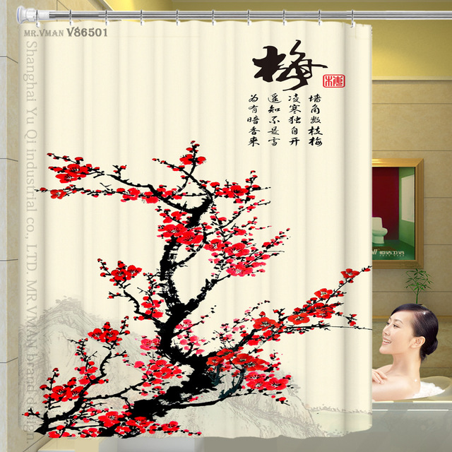 180x180 Cm Polyester Wasserdicht Duschvorhang Pflaume Orchidee