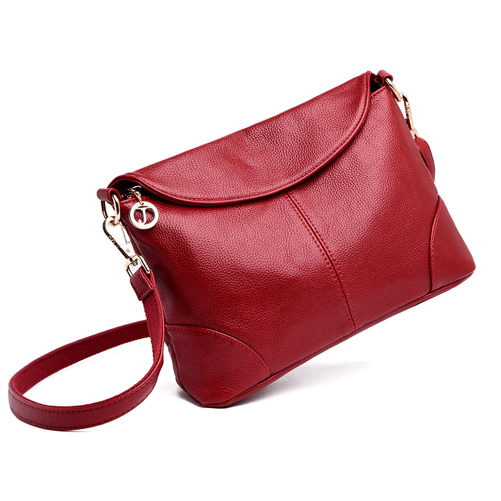 New Elegant Shoulder Bag For Women Leather Fashion Envelope Crossbody Bag With 2 Shoulder Straps Black Blue Purple Red