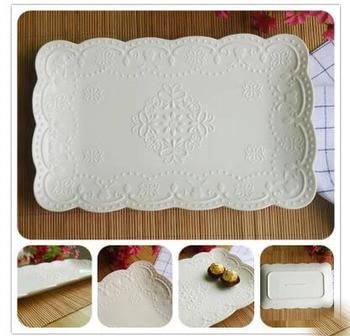Creative Pure White Ceramic Rectangular Plate Restaurant Steamed Fish Plate Roast Plate Western