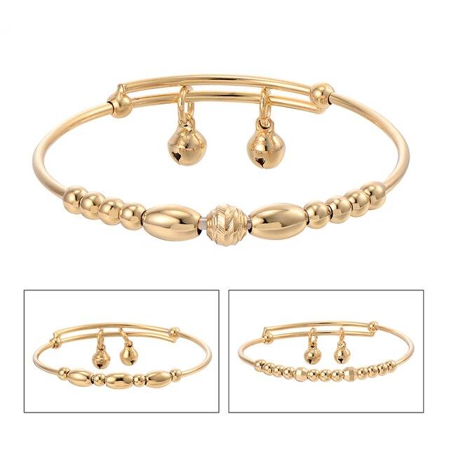 3pcs New Fashion Clic Child Toddler Jewelry Kids S Charm Bell Bangle Gold Baby Bracelet
