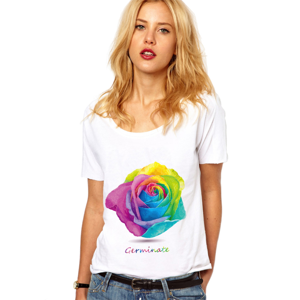 Roses Floral T Shirt Women 2018 Short Sleeve White Funny Vegan Feminist Streetwear Kawaii Tumblr Harajuku Vogue Tops Plus Size