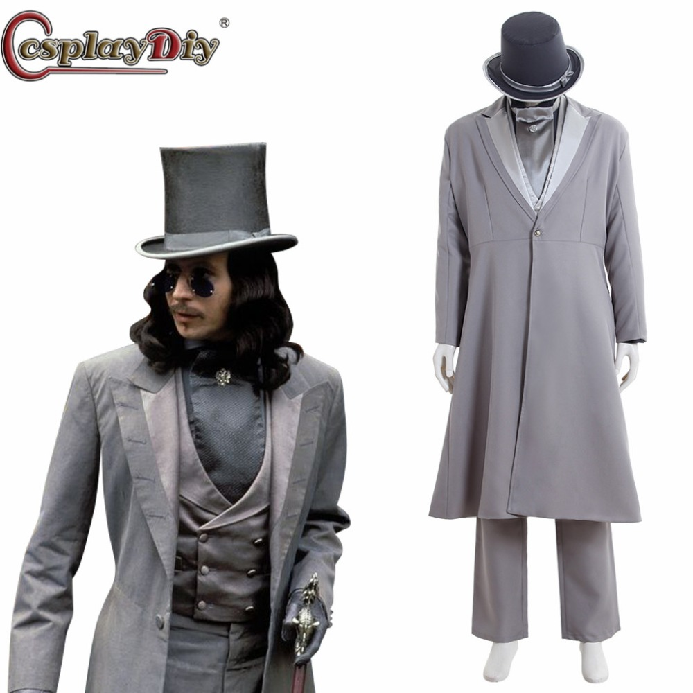 Cosplaydiy Dracula Cosplay Vampires période victorienne gothique adulte homme Halloween carnaval Costumes sur mesure D0606