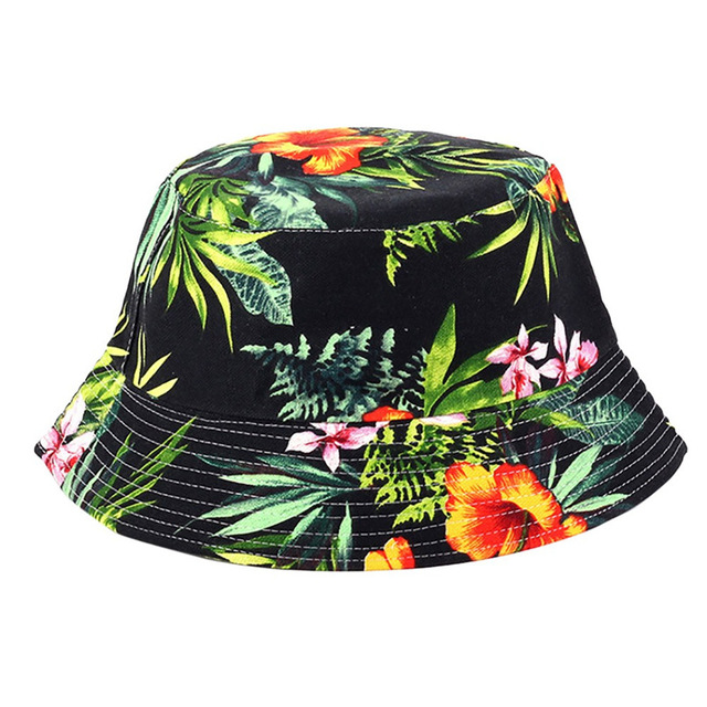 Men Women Bucket Hat Flower Print Cap 2018 Summer Colorful Flat Hat Fishing Boonie Bush Cap Outdoor Sunhat Wholesale M11CC