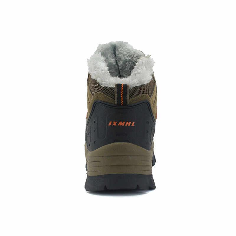 Зимние теплые зимние ботинки на меху Мужская обувь мужские повседневные ботильоны для взрослых и пар резиновый нескользящий уличные мужские ботинки Большие размеры 36-47