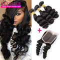 Grace Hair Brazilian Loose Wave Bundles With Closure 3 Bundles Unprocessed Brazilian Loose Wave Hair With Closure Angelbella