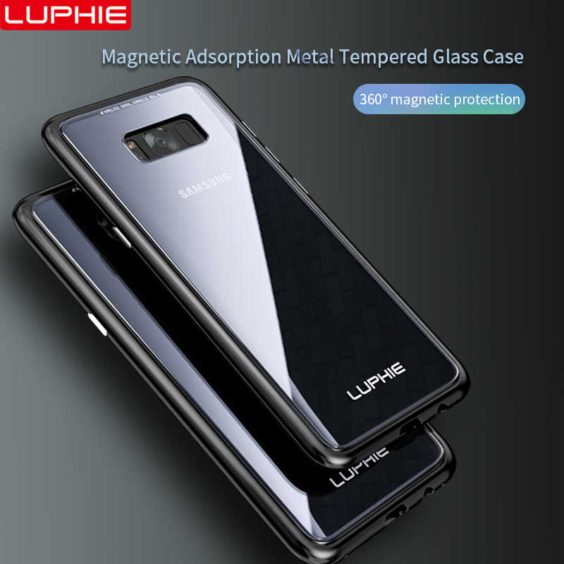 efe6250f31b ... LUPHIE Magnetic Adsorption Case For Samsung Galaxy S8 Plus Magnet Metal  Bumper Clear Glass Cover For ...