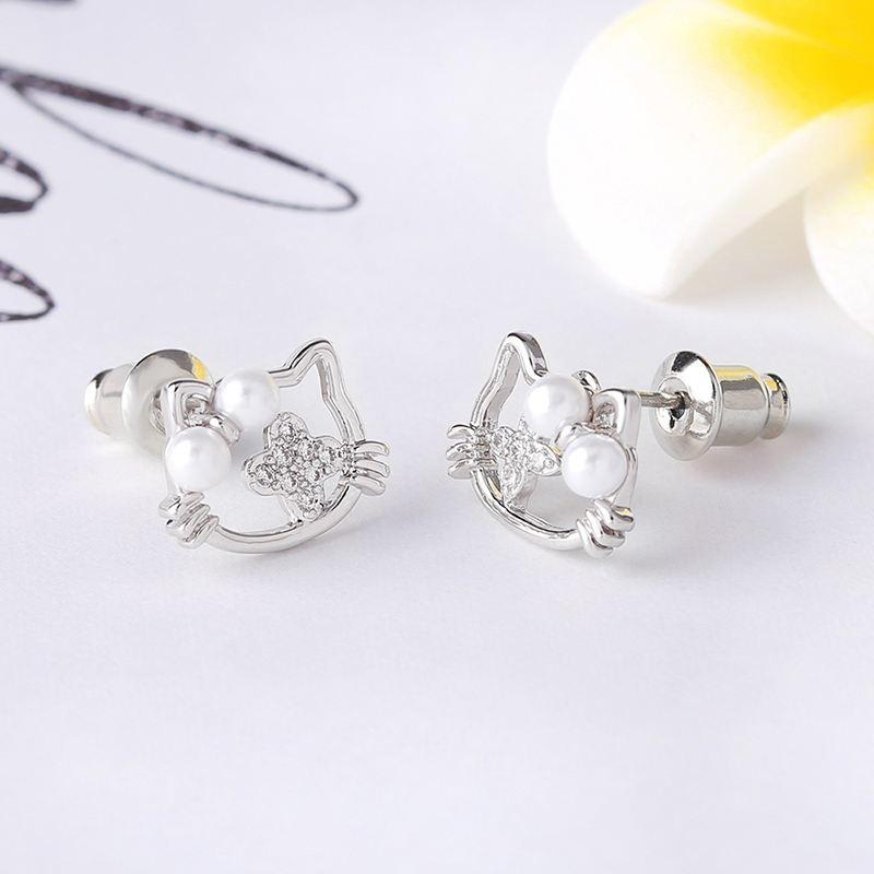 Cute Gold Cat Earrings for Girls Children Pearl Stud Earrings ...