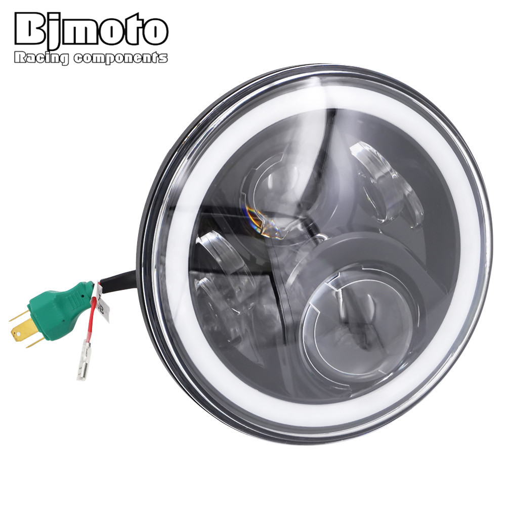 Newly Developed 7 RGB Halo Ring Angel Eye Selfdriven/Automatic Round Headlamp H4 LED Moto Daymaker Headlight For Harley 7 round led headlight conversion kit with halo angel eye ring