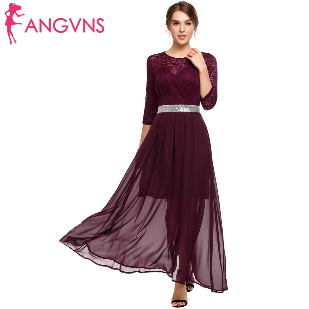 Angvns Women Chiffon Sequins Formal Fall Dress Lace