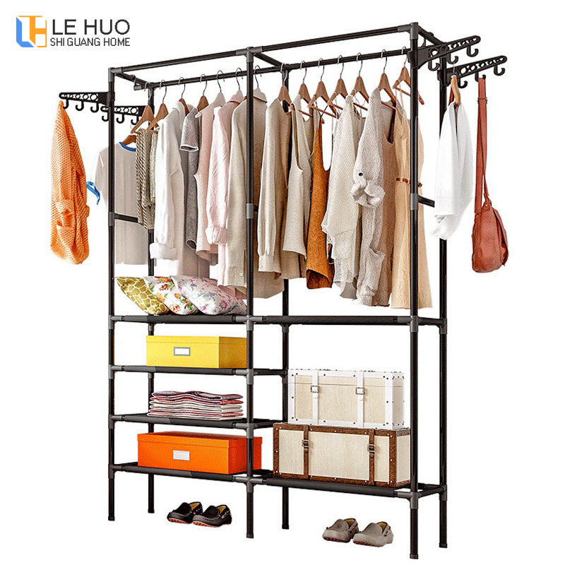 Double row Multi-layer Coat Rack Assembly bedroom Hanging clothes Shoes organize storage Shelf fashion home wardrobe FurnitureDouble row Multi-layer Coat Rack Assembly bedroom Hanging clothes Shoes organize storage Shelf fashion home wardrobe Furniture
