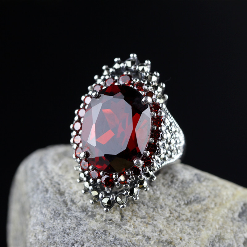 Real Pure 925 Sterling Silver Jewelry Vintage Rings For Women With Natural Red Garnet Stone Large