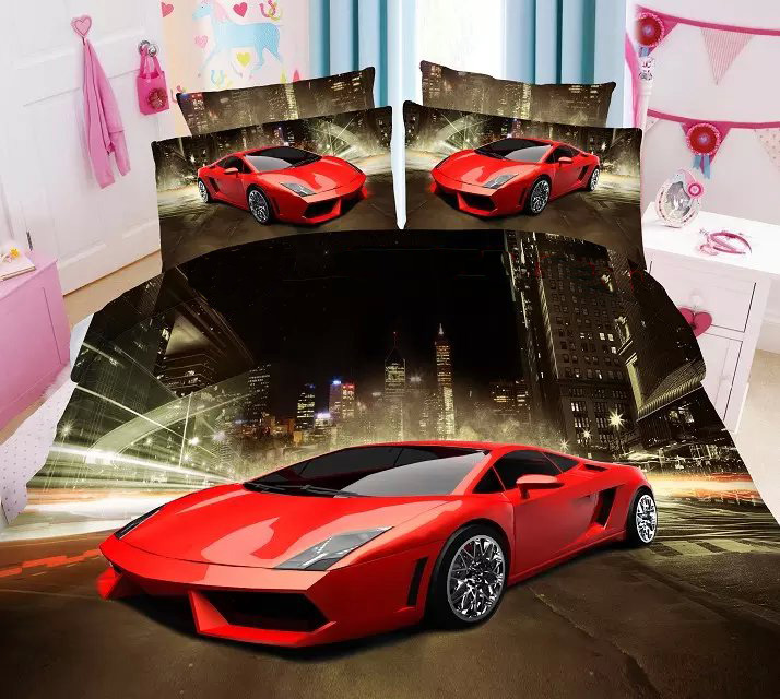 Amazing Cars Printed Bedding Set Single Twin Size Bedspread Bed Duvet  Covers Sheets Polyester Boyu0027s Childrenu0027s