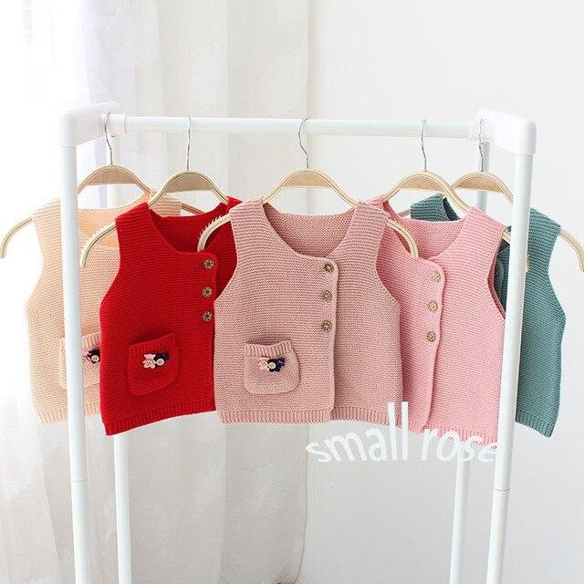 2016 весной и осенью горячей новорожденных девочек вязать свитер жилет дети дети личность свитер младенческой ребенок хлопок свитер