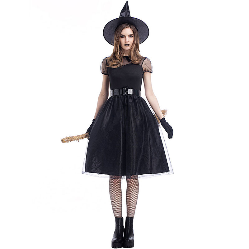 <font><b>Halloween</b></font> <font><b>Sexy</b></font> Witch Costumes Adult <font><b>Women</b></font> Queen Carnival Party Scary Fancy Dress Mesh Belted Gloves Witch Dress Black image