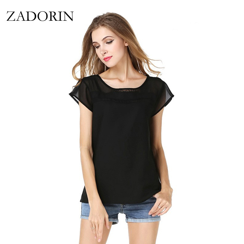 Blusas S XXL New Fashion Patchwork Short Sleeve Chiffon ...