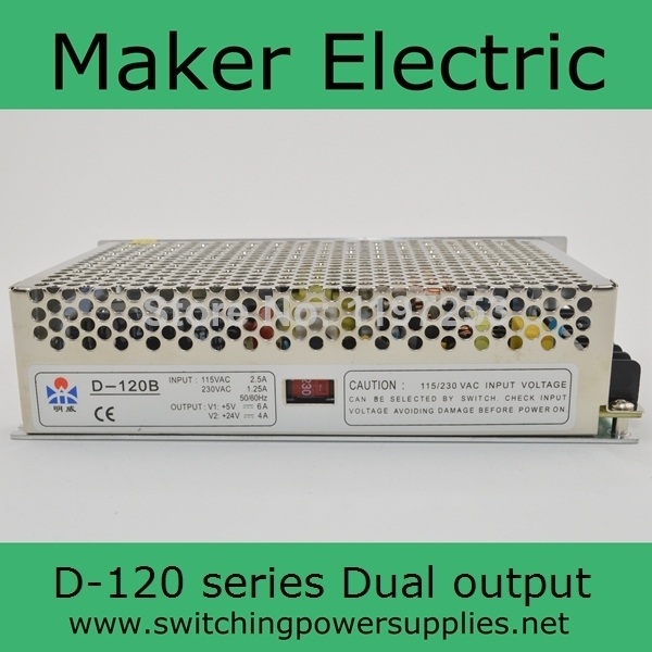Dual output switching power supply smps 12V 5A 24V 2.5A 120w ac dc ...