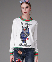 Free Shipping Warm Hot Sale Winter New Arrival Beads Owl Embroidery Round Collar Long Sleeve Woman Sweater