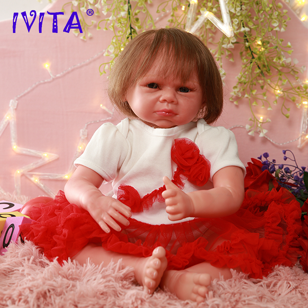 Ivita Ds1807 44.5cm Bonecas Reborn Silicone Baby Doll Realista Vinyl Newborn Princess With Planted Hair Toddler Girls Toys