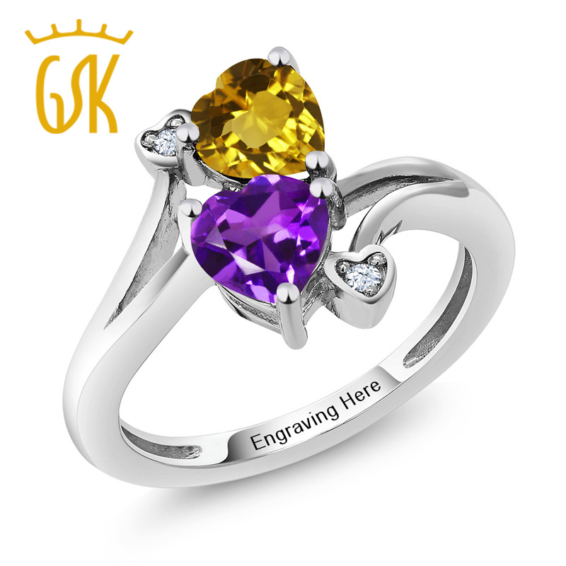 Gem Stone King Sterling Silver Engagement Ring Promise Ring Customized & Personalized 2 Birthstone Build Your Own  Heart Ring