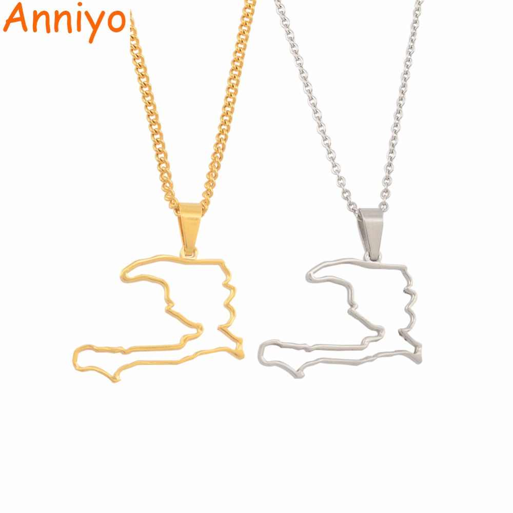 Anniyo Contour Haiti Country Map Pendant Necklaces for Women Girls Ayiti Silver/Gold Color Jewelry Gifts Map of Haiti #051121