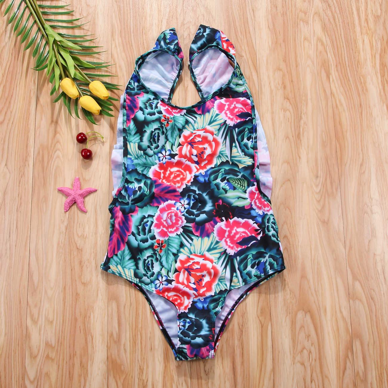 Sexy femmes Bikinis 2018 une pièce maillots de bain Floral à volants dos nu maillot de bain push-up rembourré femme brésilienne Monokini maillot de bain