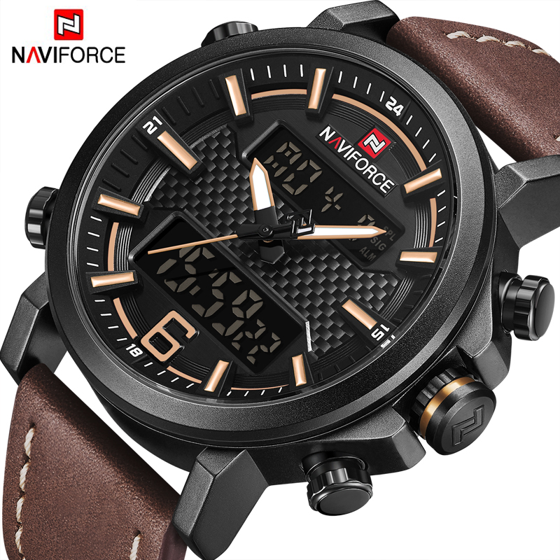 все цены на NAVIFORCE 9135 Fashion Men Sport Watches Mens LED Analog Digital Watch Army Military Leather Quartz Watch Relogio Masculino