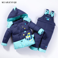 2018 winter children clothing sets duck down jacket & coat pants jacket hooded baby girls Small fish pattern kids boys clothes