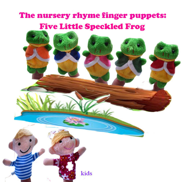 7pcs Finger Doll Baby Plush Toys The Nursery Rhyme Puppets Five Little Speckled Frogs Child