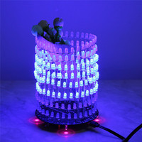 Sogno azzurro Cerchio di Luce LED Kit FAI DA TE LED Spettro Musicale Modulo Led Matrix 8x32 Gruppo di Saldatura FAI DA TE FAI DA TE Pianta in Vaso Decor Regalo