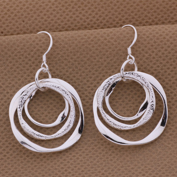 Production hot charm women lady Wedding gifts silver color charm Women circles earrings free shipping , jewelry LE008 1