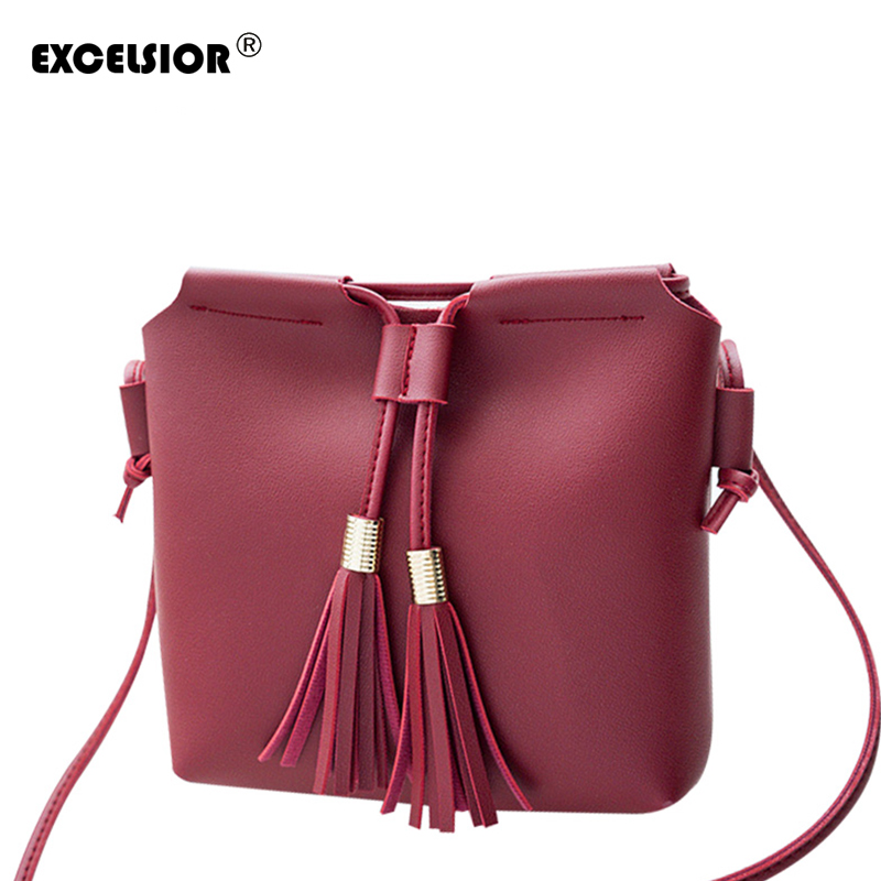EXCELSIOR 2018 New Fashion Satchel PU Leather Shoulder Bag for Women Tassel Handbag Ladies Crossbody Bags Tote drop shipping new 2017 women s pu leather tassel mini round handbag fashion ladies bag purse shoulder bags small tote female satchel