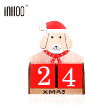 ФОТО inhoo wooden christmas advent calendar countdown santa new year dog xmas ornaments crafts christmas gifts decorations for home