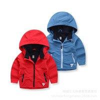 2017 New Autumn Fashion Casual Baby Jacket Boys Windbreaker Cotton Full Hooded Coat Solid Outwear
