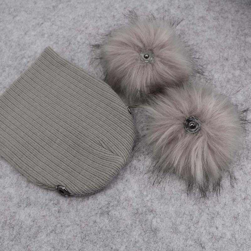 GZHilovingL/модные вязаные шапочки для маленьких мальчиков и девочек с двойным меховым помпоном; зимние мягкие хлопковые Полосатые Шляпы; Кепка Skullies для детей