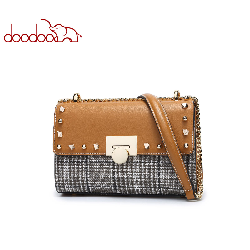 DOODOO Brand Fashion Women Bag Female Shoulder Crossbody Bags Ladies Artificial Leather Chain Rivet Small 2 Colors Messenger Bag fashion brand genuine leather women messenger bag patchwork plaid chain shoulder bag small ladies crossbody bag