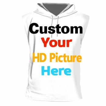 Camiseta sin mangas personalizada con capucha para hombres y mujeres, camiseta sin mangas personalizada DIY con Logo de tu marca/diseño propio/imagen/estampado de personajes en 3d