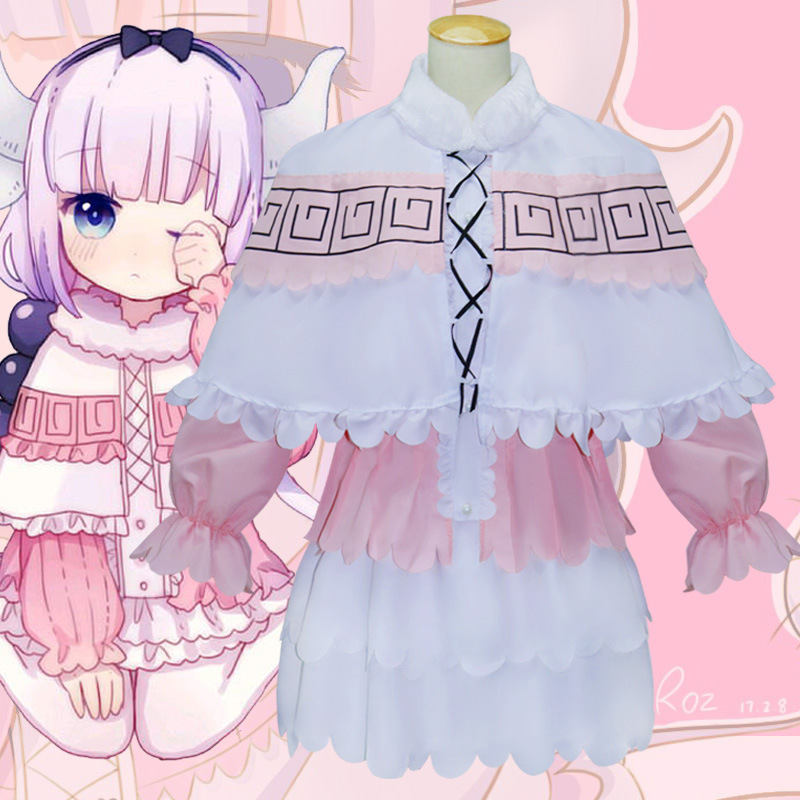 New Cosplay Kobayashi's Dragon maid Kanna Kamui Cosplay Costume Maid Clothing  Daily Uniform
