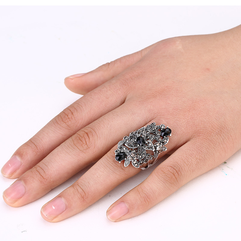 Ajojewel Black Crystal Rhinestone Flower Jewelry Vintage Retro Ring - Сәндік зергерлік бұйымдар - фото 2