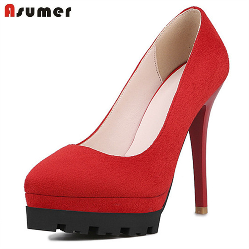 ASUMER Platform shoes pointed toe thin high heels shoes 12cm office lady contracted women pumps work shoes flock asumer 2017 new high quality flock women pumps pointed toe high heels 8cm office lady dress shoes woman black wine red
